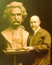 A Mark Twain sculpture by Dr. Walter Russell (pictured) of the University of Science and Philosophy.