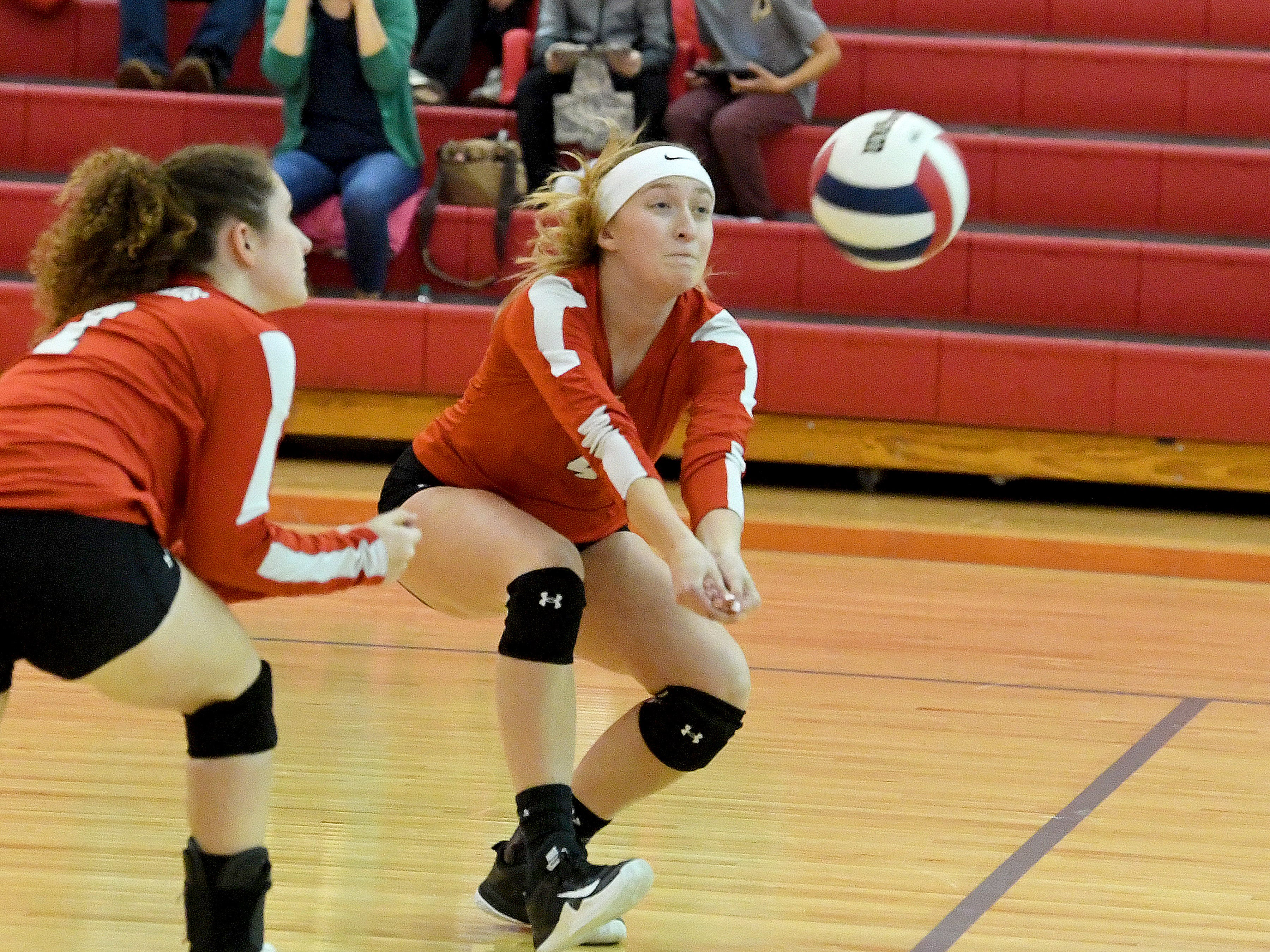 Riverheads' Emma Tomlinson drops to the side and forward a bit to bump the ball during a Region 1B quarterfinal match, played in Greenville on Thursday, Nov. 1, 2018.