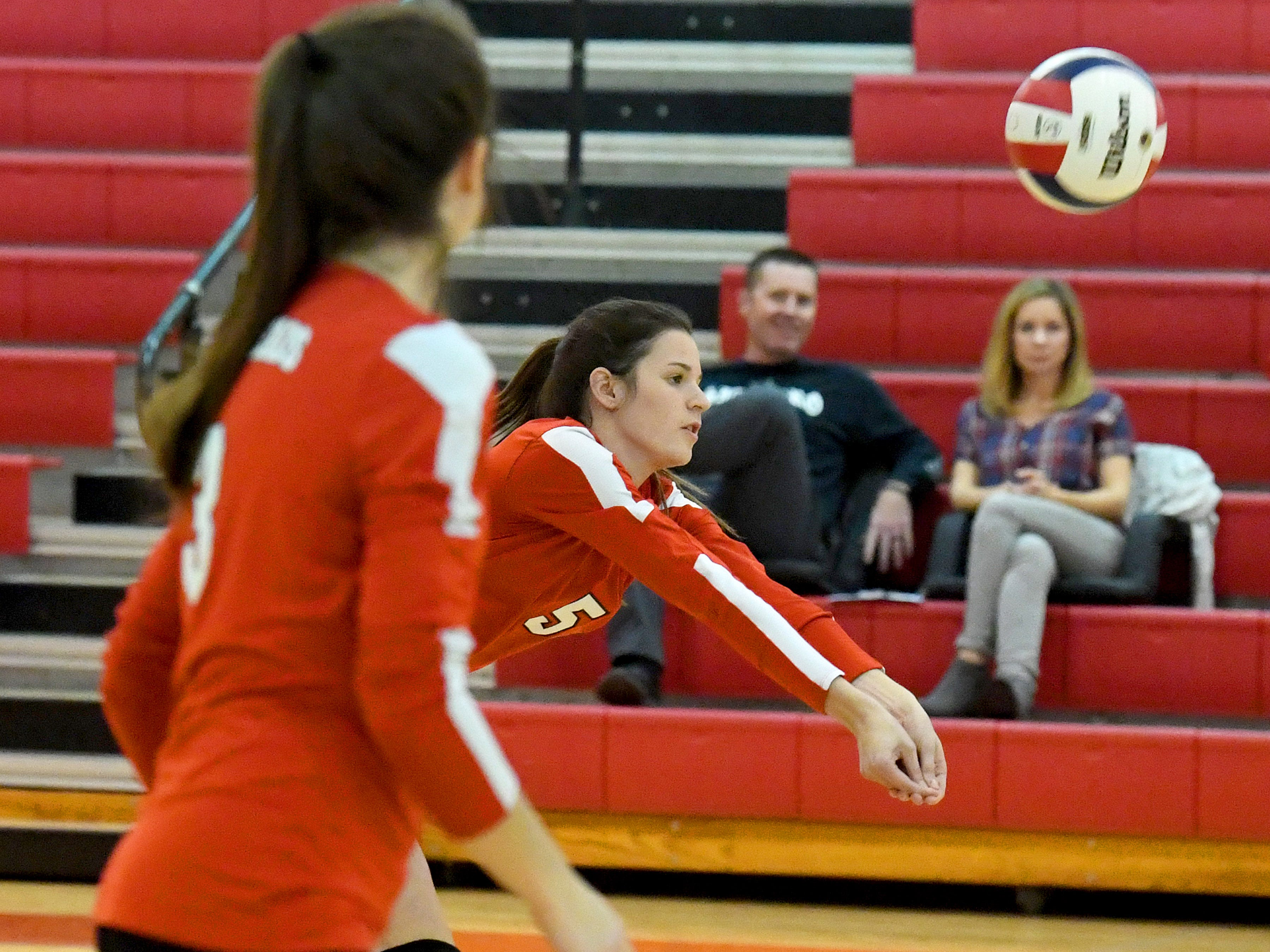 Riverheads' Abbey Eavers bumps the ball during a Region 1B quarterfinal match, played in Greenville on Thursday, Nov. 1, 2018.