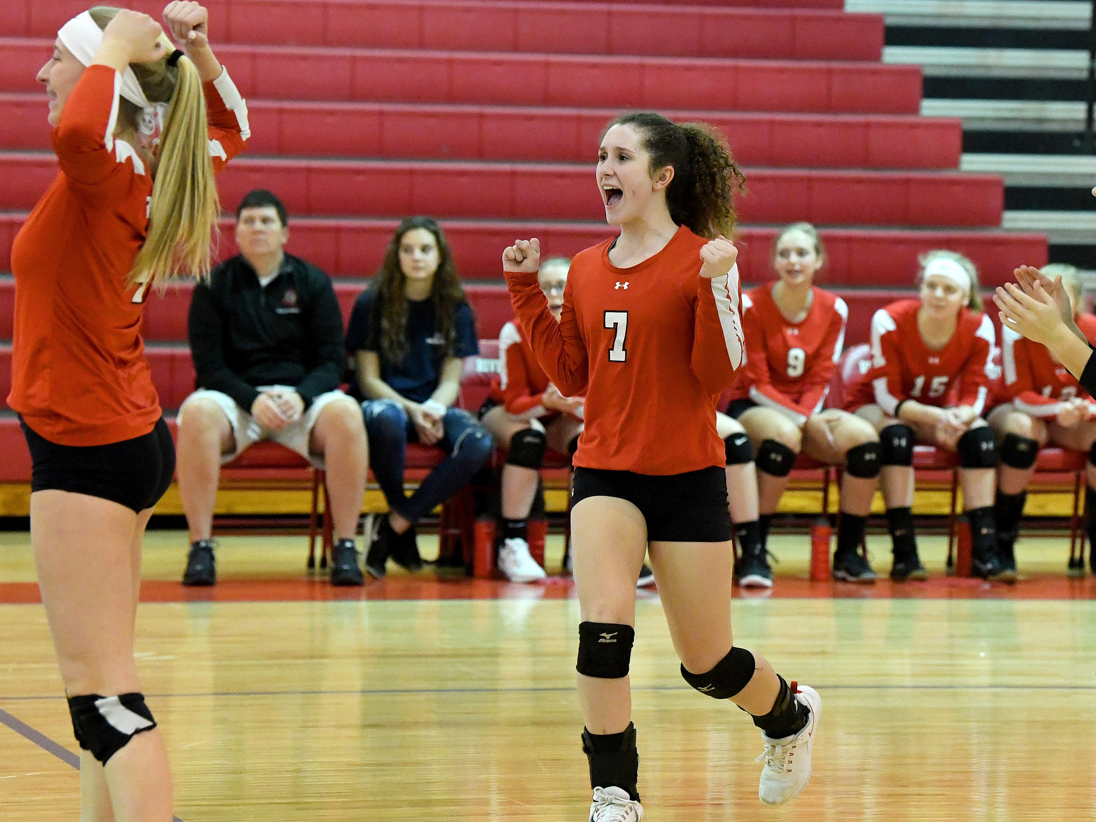 Riverheads' Gracie Fulton cheers after they score another point during a Region 1B quarterfinal match, played in Greenville on Thursday, Nov. 1, 2018.