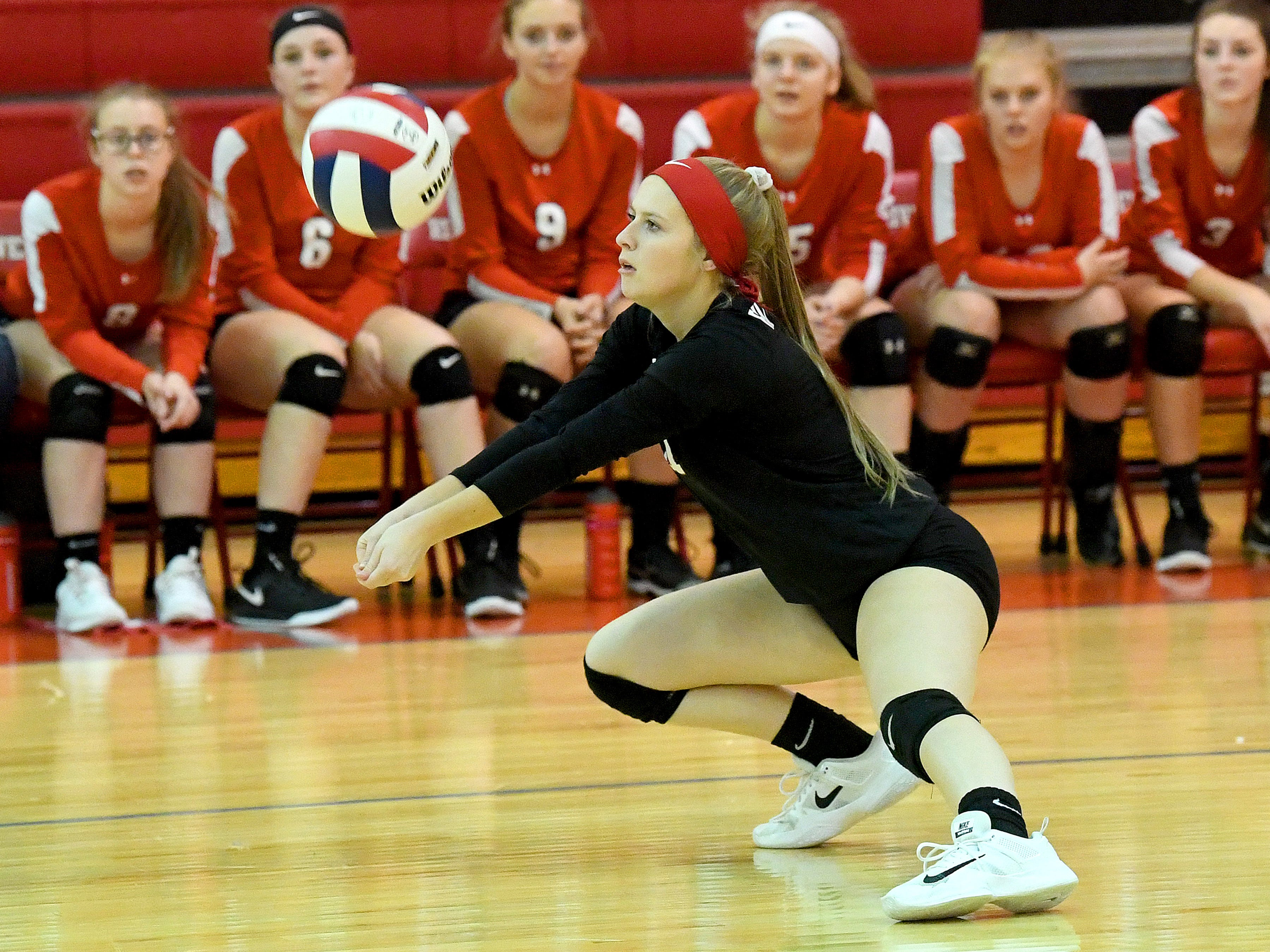 Riverheads' Samantha Persinger bumps the ball during a Region 1B quarterfinal match, played in Greenville on Thursday, Nov. 1, 2018.