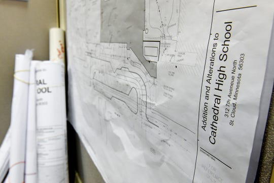 Blueprints detail the classroom spaces Thursday, Nov. 1, for a proposed Cathedral High School addition.