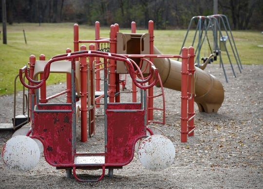 The city of Sartell is asking residents to vote on their favorite design for the new Watab CreekPark playground to replace the current one shown Thursday, Nov. 1, in Sartell.