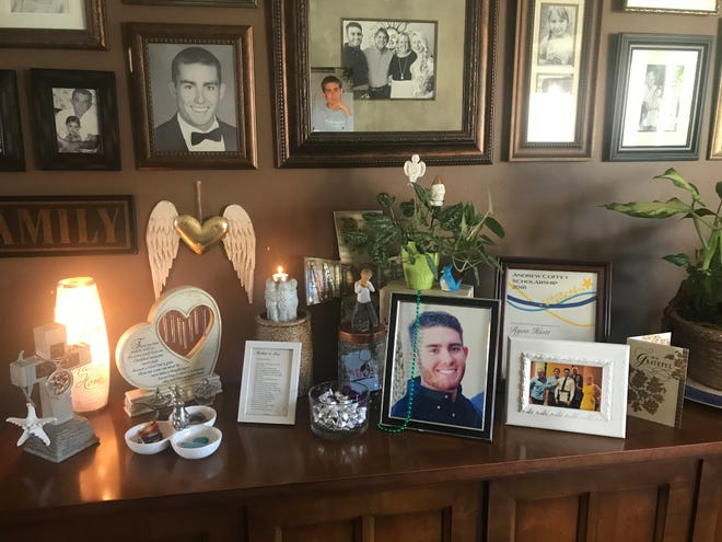 A memorial has been created inside Tom and Sandra Coffey's home in Lighthouse Point in honor of their son, Andrew.