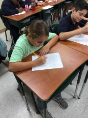 6th Grader, Shyla Butterfield, shows #WhyIWrite in her ELA class. Students had to pretend they were entering a contest to win tickets and were persuading the judges to pick them.