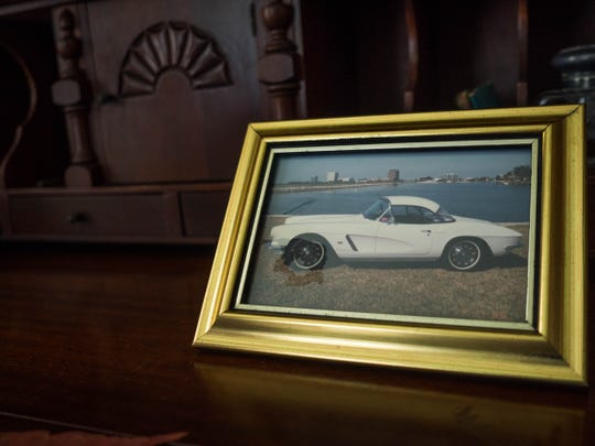 A picture of Ruth Hallstrom's 1962 white  Corvette which she would drive to the Piggly Wiggly to sell her eggs.