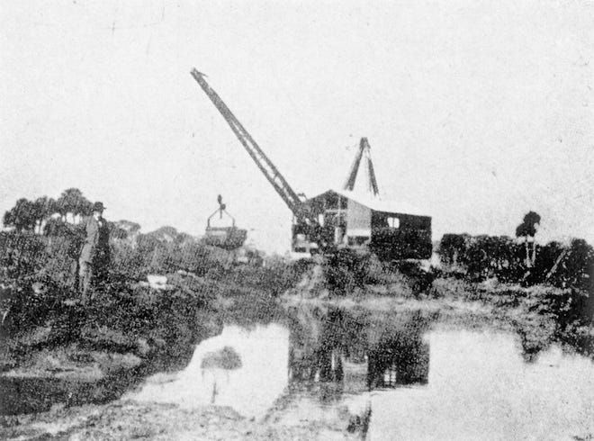 Drainage was extremely important to the early development of Vero Beach. This large shovel and drag line was used to unearth the first main canal from the Indian River westward 9 miles into the back country. Construction began on the canals in 1913, when almost all of the area being drained was agricultural.