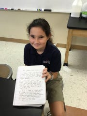 6th Grader, Morgan Tuller shows #WhyIWrite. She writes to make a difference showing her rough draft letter to Governor Rick Scott expressing concern over local water conditions.