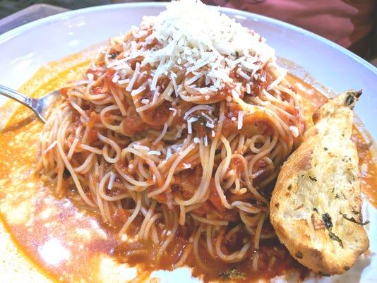 Adj Pizzoodles spaghettini and Tomato Sauce With Asiago Cream
