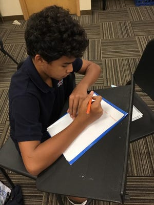 7th Grader, Nicholas Lopes, shows #WhyIWrite in his Theater Class. Students had to write sequels to Sleepy Hollow as a stage play to determine what really happened to Ichabod C