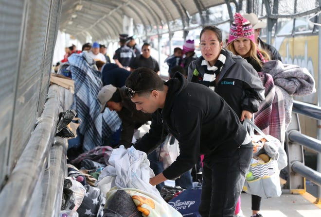 Just over 100 undocumented migrants were camped on the Paso Del Norte international bridge waiting to enter the U.S. Thursday. U.S. immigration officials were allowing small groups at a time to enter the U.S. at the port of entry.