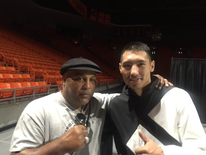"""Veteran trainer James """"Buddy"""" McGirt, left, will work the corner of super middleweight Janibek Alimkhanuly on Saturday night in the Don Haskins Center."""