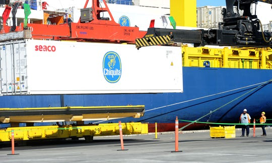Shipping of bananas, like those being unload from the Chiquita Venture, was up 5 percent at the Port of Hueneme for the recently completed fiscal year.