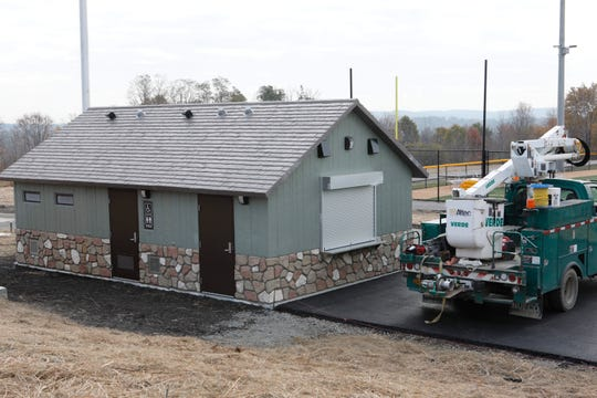 A restroom and concession area at the Granite Knolls sports complex in Yorktown.