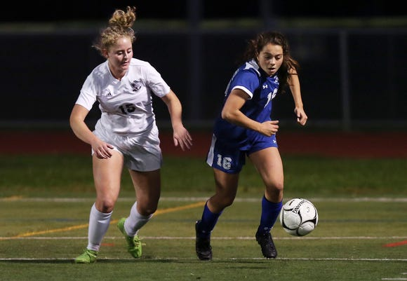 Bronxville defeated O'Neill 2-0 in the Class B regional girls soccer semifinal at Arlington High School in Freedom Plains Oct. 31, 2018.