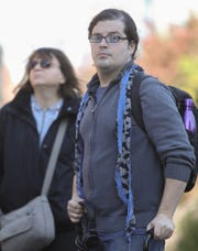 Steven Ciccone, 35, walks on the High Line in the Chelsea section of New York City on Wednesday, October 31, 2018.  Ciccone was born with cerebral palsy, he's suing Metro-North for the brain injury he says he sustained after Hudson Line Train 8808 crashed in the Bronx on Dec. 1, 2013, killing four and injuring dozens of others.