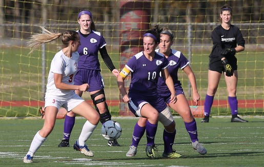 John Jay defeated Goshen 1-0 in the Class A regional girls soccer semifinal at Arlington High School in Freedom Plains Oct. 31, 2018.