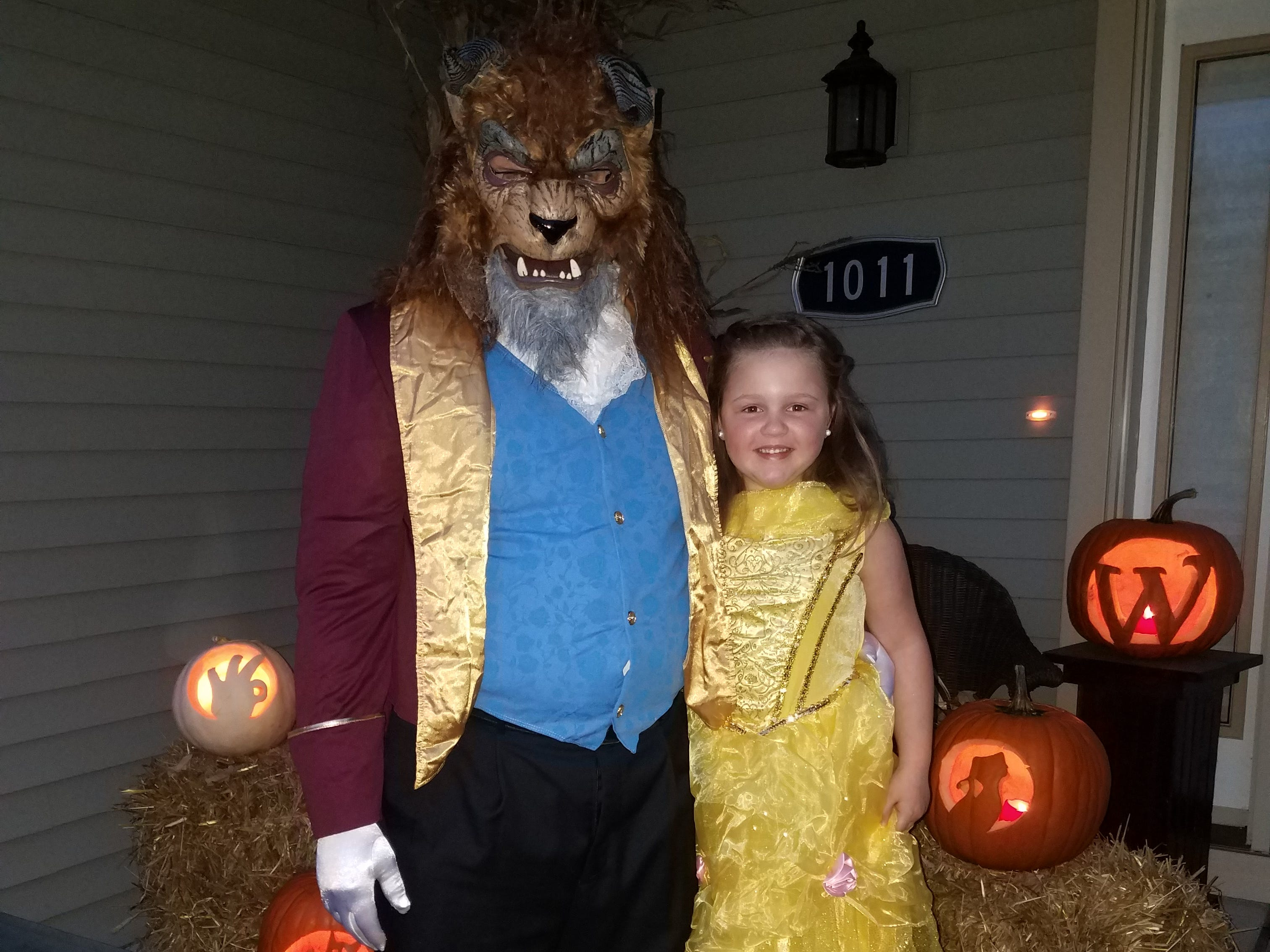 "Kaari Westfall, 6, as ""Beauty"" and her dad, Dave, as ""the Beast."" Her parents are Dave and Carrisa Westfall of Wisconsin Rapids."