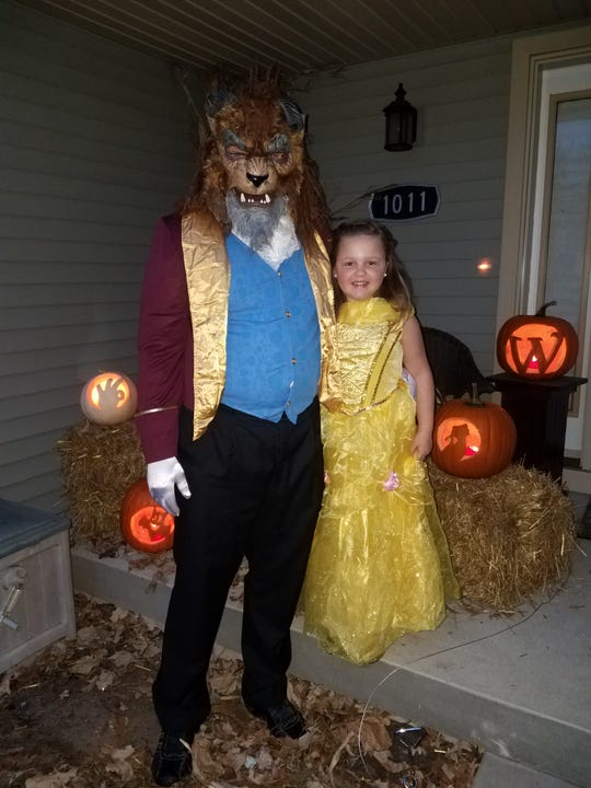 """Kaari Westfall, 6, as """"Beauty"""" and her dad, Dave, as """"the Beast."""" Her parents are Dave and Carrisa Westfall of Wisconsin Rapids."""
