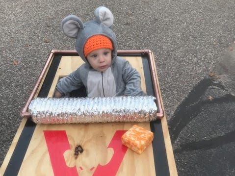 Lane Marth, 18 months, shows off his mousetrap costume.