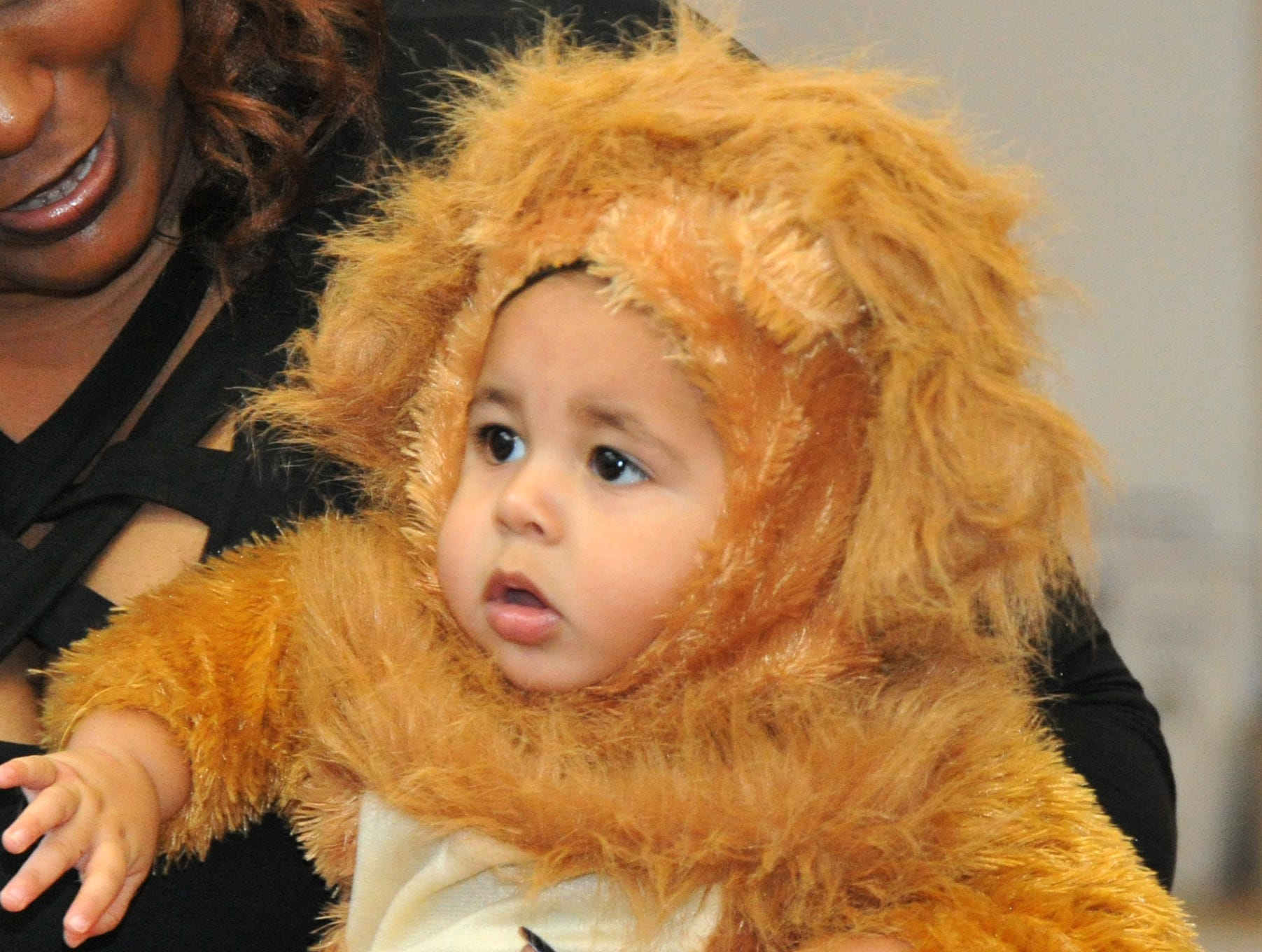 8-month-old, Jordan Reyes was dressed as a lion, Wednesday afternoon, during the Martin Luther King Center's Halloween costume contest.