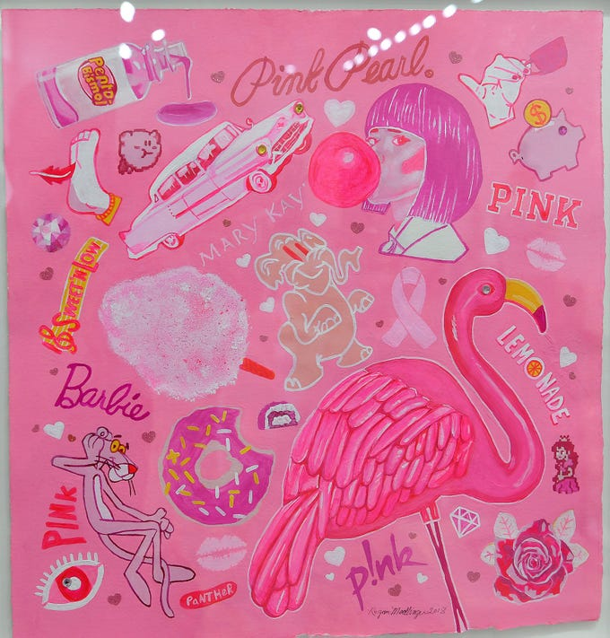 "A vibrant mixed media piece by Regan Medlinger titled, ""Tickled Pink"" is part of the Pink exhibit opening at the Kemp Center for the Art's Northlight Gallery."