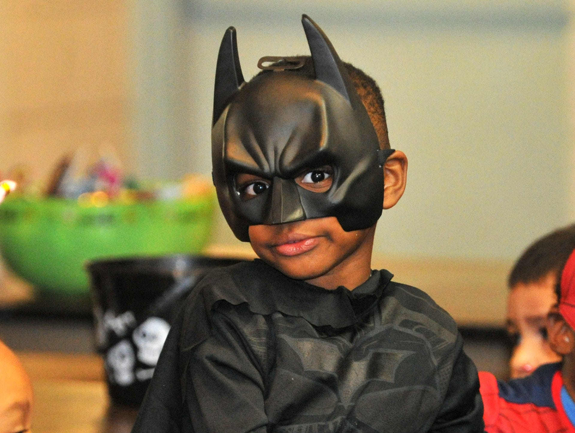 3-year-old, JaMichael Clement was dressed as Batman, Wednesday afternoon, during the Martin Luther King Center's Halloween costume contest.