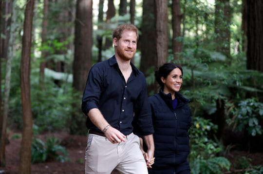 Prince Harry and Duchess Meghan visit Redwoods Tree Walk on October 31, 2018 in Rotorua, New Zealand.