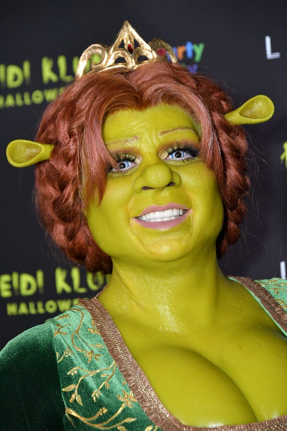 "Heidi Klum shows up dressed as Princess Fiona from ""Shrek"" to her 19th Annual Halloween Party at Lavo on October 31, 2018 in New York City."
