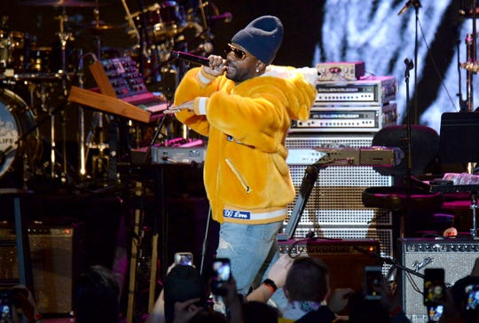 Juicy J performs during the tribute event Mac Miller: A Celebration of Life on Wednesday, Oct. 31, 2018, at the Greek Theatre in Los Angeles.