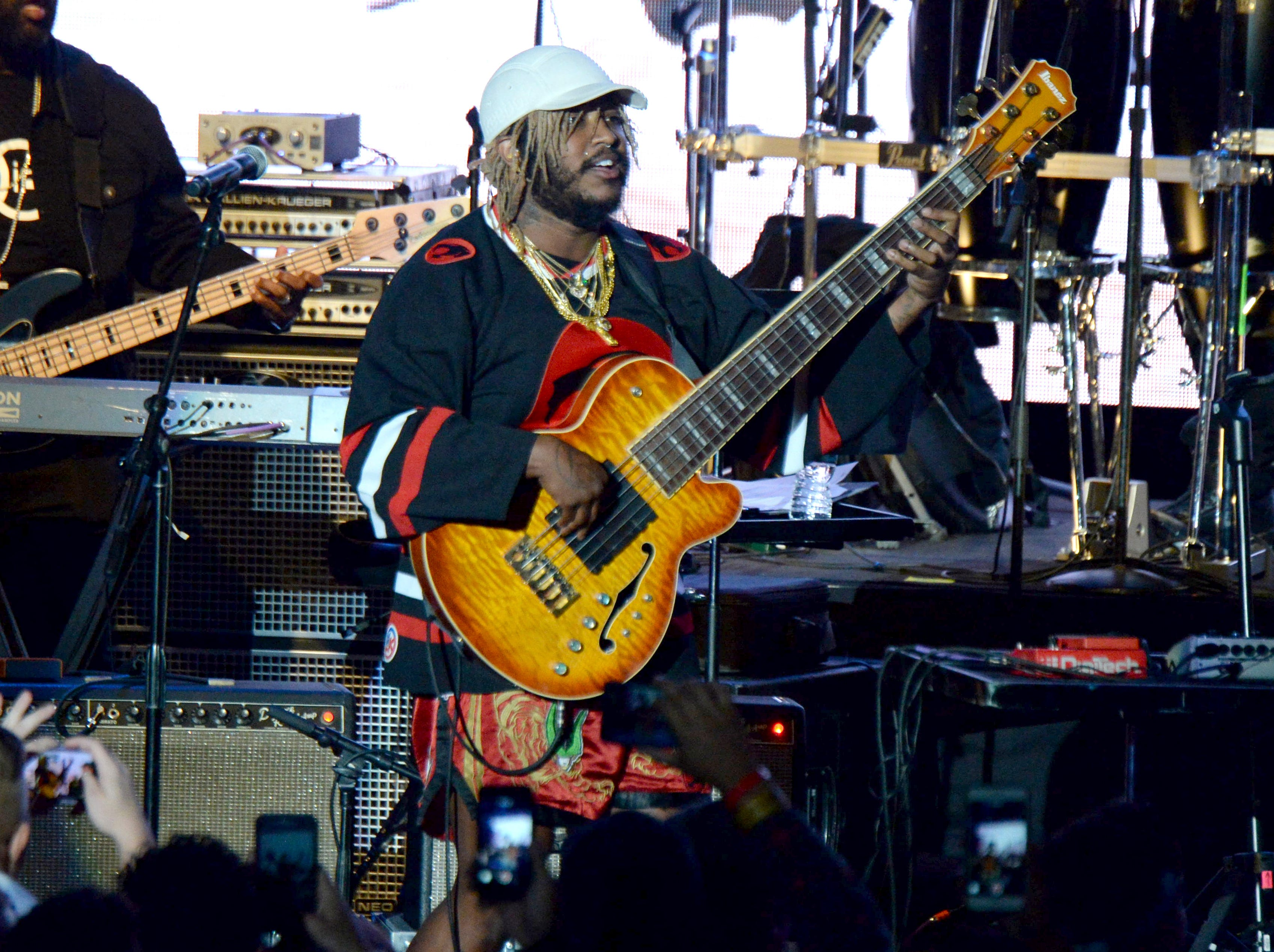 Thundercat performs during the tribute event Mac Miller: A Celebration of Life on Wednesday, Oct. 31, 2018, at the Greek Theatre in Los Angeles. (Photo by Amy Harris/Invision/AP) ORG XMIT: CAPM117
