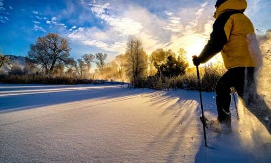 Peruse through perfect powder trails in St. Ignace, Michigan.