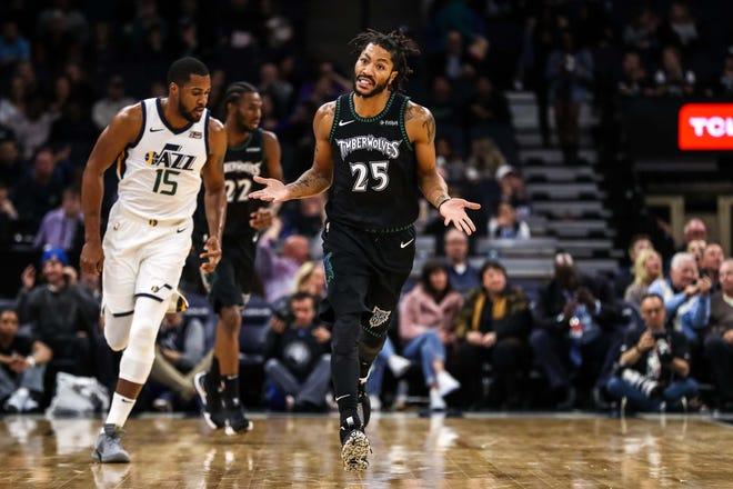 Minnesota Timberwolves guard Derrick Rose celebrates during the third quarter against the Utah Jazz at Target Center.
