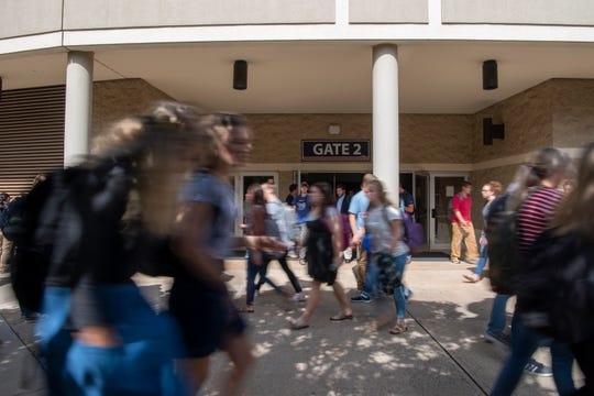 Liberty University students shuffle to their next class.