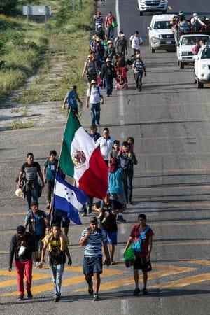Migrants in a caravan at  La Ventosa,  Mexico, on Nov. 1, 2018.