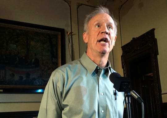 Illinois Republican Gov. Bruce Rauner speaks during a news conference in Springfield, Ill. on Aug. 9, 2018.