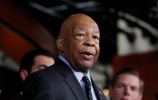 FILE - In this May 17, 2017 file photo, Rep. Elijah Cummings, D-Md. speaks during a news conference on Capitol Hill in Washington. Cummings has undergone a heart procedure and will remain hospitalized for a few days.  (AP Photo/Alex Brandon, File) ORG XMIT: WX101