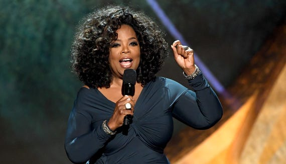 Oprah Winfrey speaks onstage at Q85: A Musical Celebration for Quincy Jones at the Microsoft Theatre on Sept. 25, 2018, in Los Angeles, California.