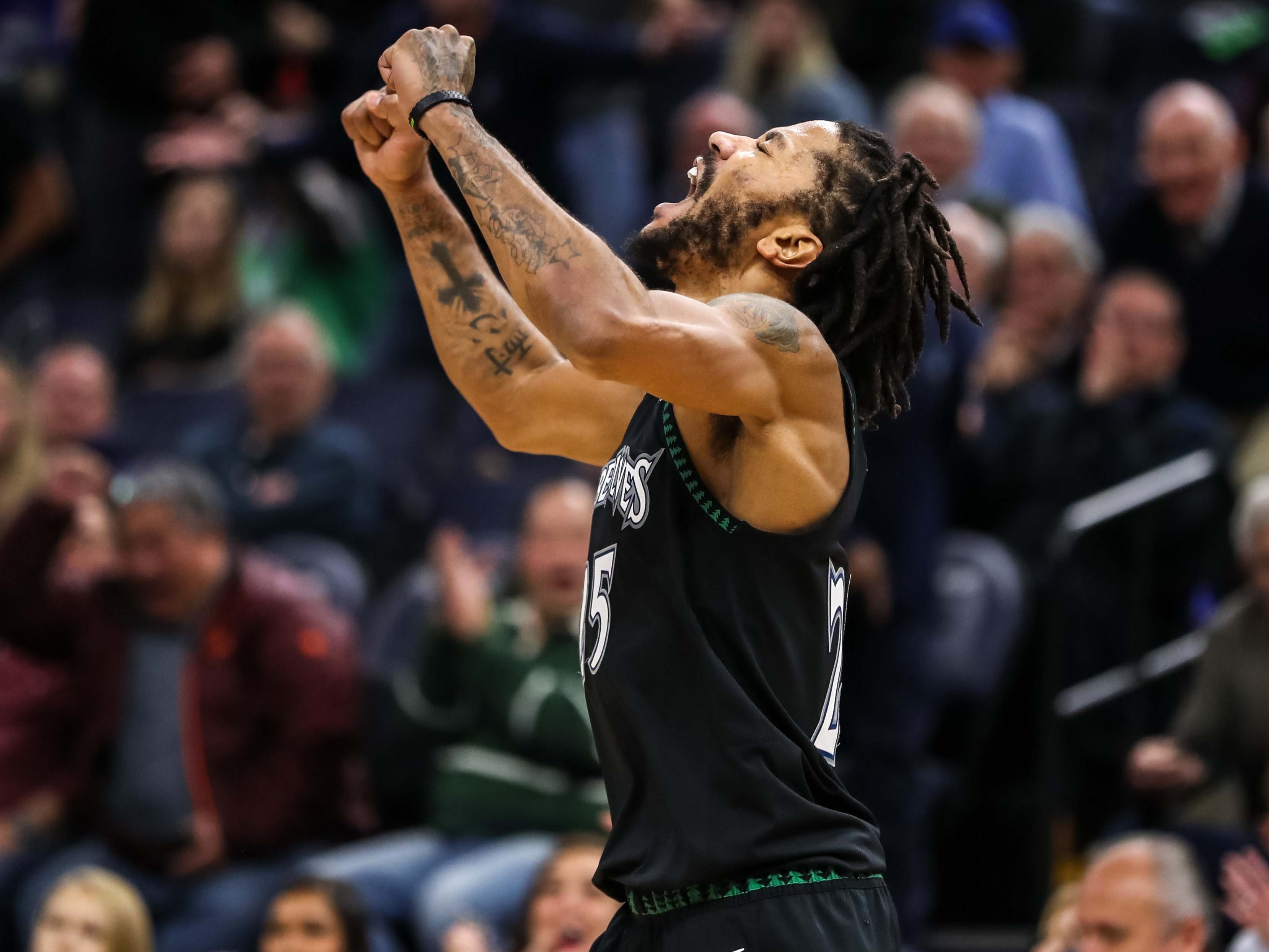 Oct. 31: An emotional Derrick Rose was fired up after pouring in a career-high 50 points in the Timberwolves' win over the Jazz.