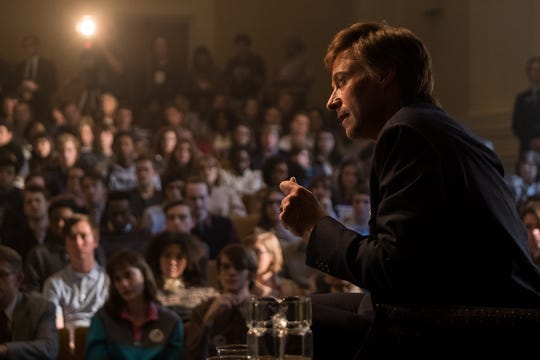 """Gary Hart (Hugh Jackman) engages a young electorate in the political drama """"The Front Runner."""""""