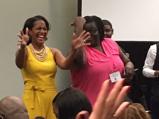 Jahana Hayes, a Democratic House candidate in Connecticut, laughed with supporters after speaking on a panel at the Congressional Black Caucus Foundation's annual legislative conference Sept. 14, 2018, in Washington, D.C.