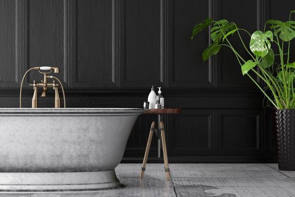 Bathtub in the black wooden interior