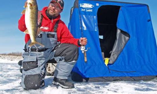 Ice fishing on Deer Lake is a popular winter pastime in Michigan.