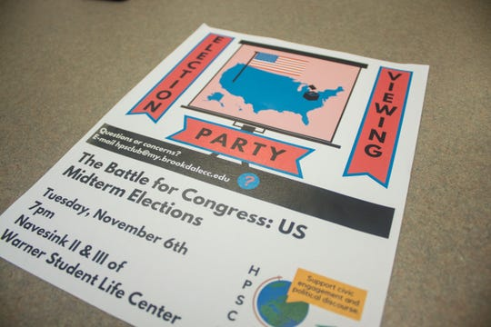 A flier for Brookdale Community College's midterm election viewing party.