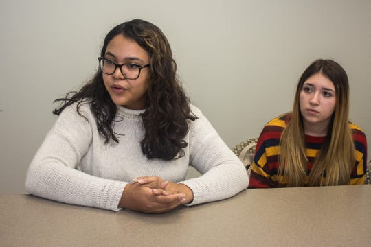 (L-R) Brookdale Community College students Maria Monzon, sophomore, and Hanna Walker, freshman, discuss the midterm election.