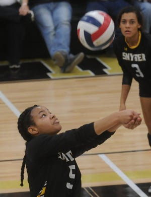 Snyder's A'nia Ware passes the ball during the Lady Tigers match against Argyle. Argyle won the Region I-4A second-round playoff match 25-21, 25-8, 25-14 on Thursday, Nov. 1, 2018, at Abilene High's Eagle Gym.