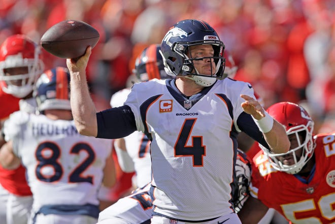 Denver Broncos quarterback Case Keenum (4) throws during the first half against the Kansas City Chiefs in Kansas City, Mo., on Sunday, Oct. 28, 2018.