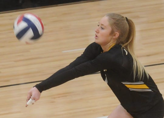 Snyder's Kendra Bynum passes the ball to a teammate during the Lady Tigers match against Argyle. Argyle won the Region I-4A second-round playoff match 25-21, 25-8, 25-14 on Thursday, Nov. 1, 2018, at Abilene High's Eagle Gym.