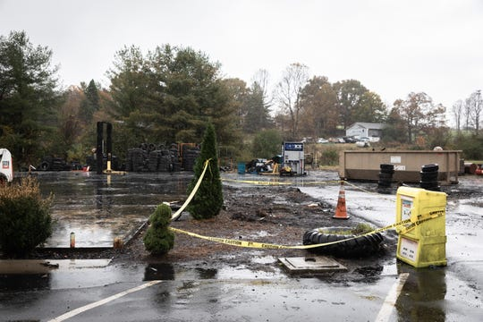 The former site of Weaverville tire & Wheel which burned down early in the morning Oct. 26, 2018.