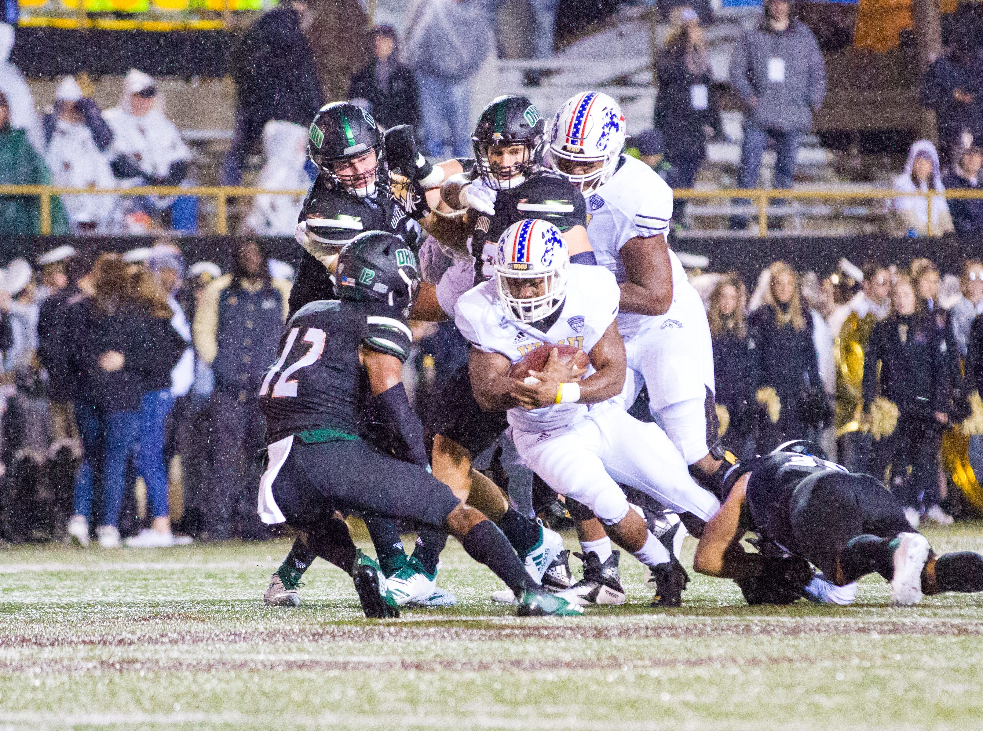 Western Michigan running back Jamauri Bogan carries against Ohio at Waldo Stadium in Kalamazoo on Thursday, November 1, 2018.